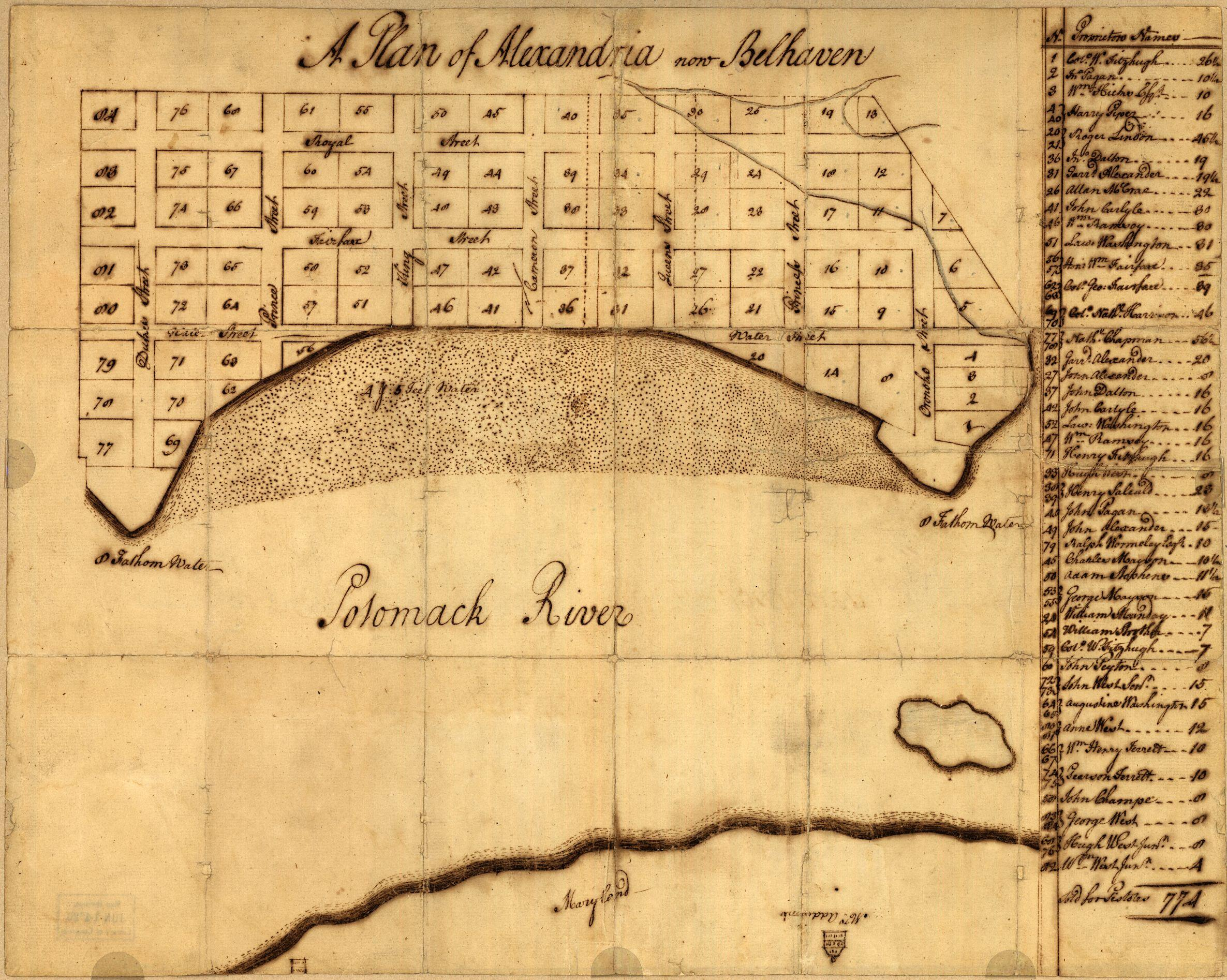 Early map of Alexandria drawn by George Washington. - A Plan of Alexandria, now Belhaven, By George Washington, ca. 1749. [G3884.A3G46 1749 .W3]. Courtesy Library of Congress, Washington, D.C.