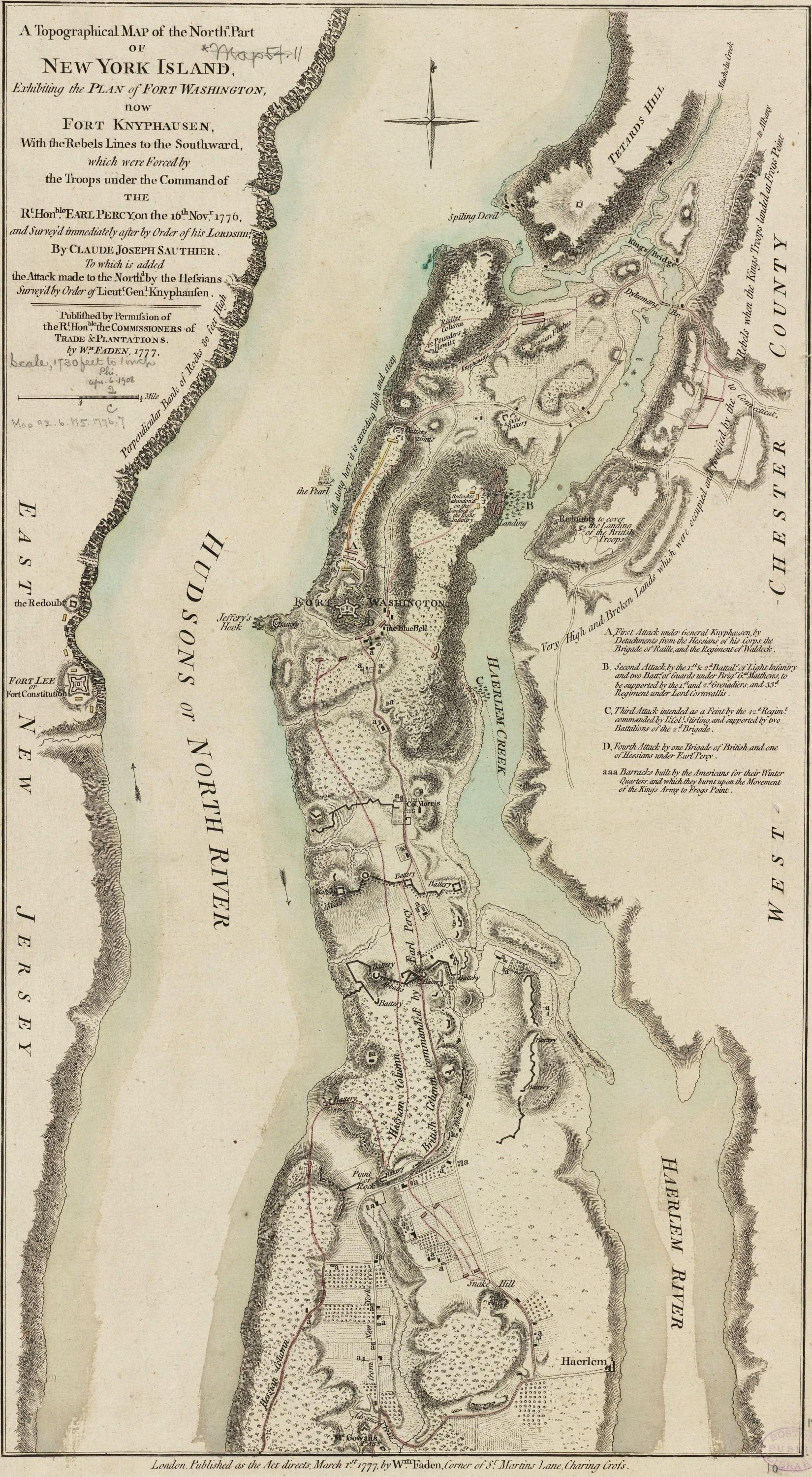 A plan of the attack of Fort Washington, now Fort Knyphausen, and of the American lines on New-York Island by the King's troops, on the 16th of November 1776, ca. 1776. [G3804.N4:2W3S3 1776 .S2]. Courtesy Library of Congress, Washington, D.C.