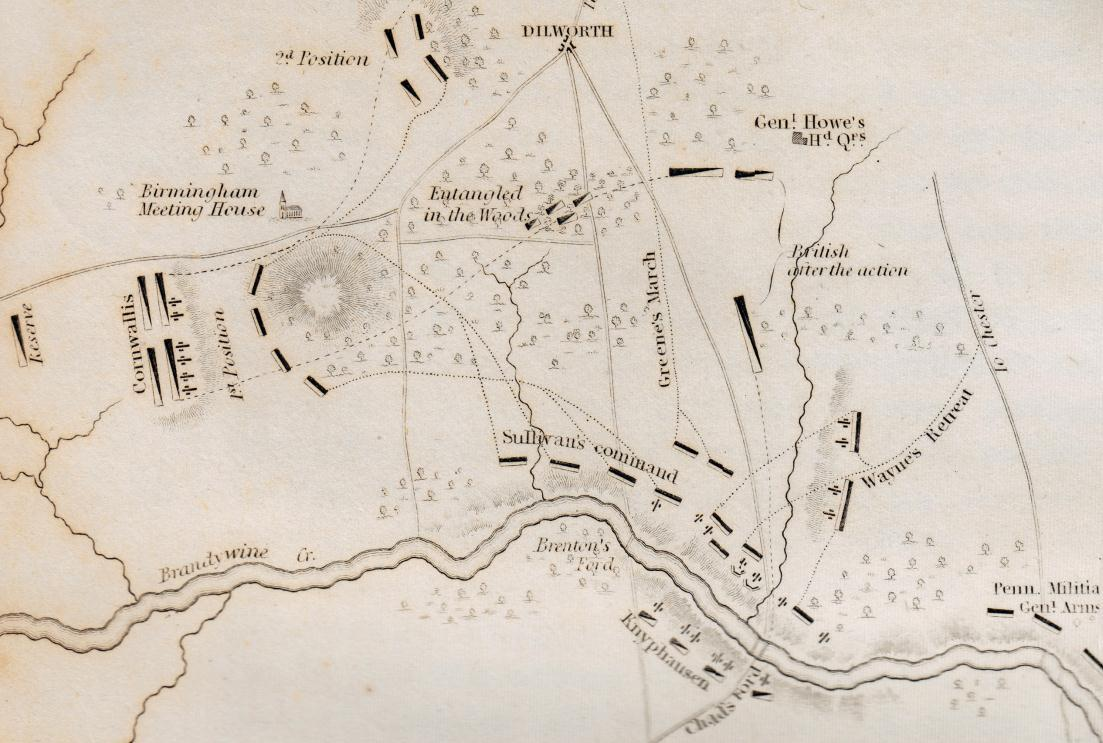 Map of the Battle of Brandywine showing the British flank attack near the Birmingham Meeting House (Wikimedia)