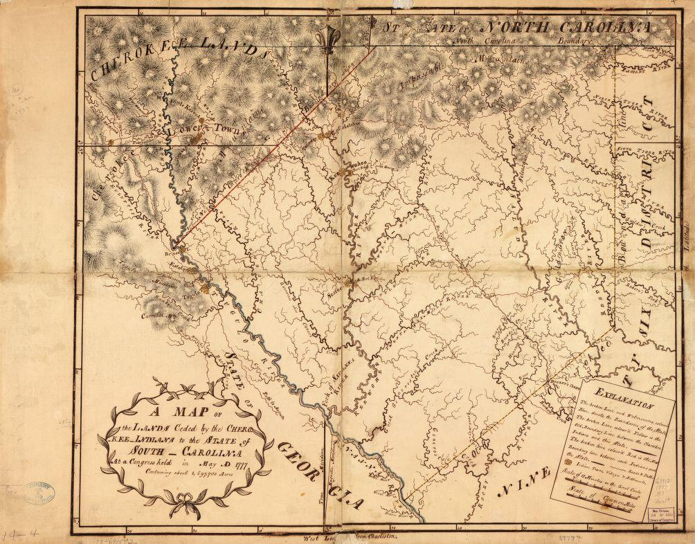 A Map of the lands ceded by the Cherokee Indians to the State of South-Carolina at a congress held in May, A.D. 1777; containing about 1,697,700 acres. Image via Library of Congress.