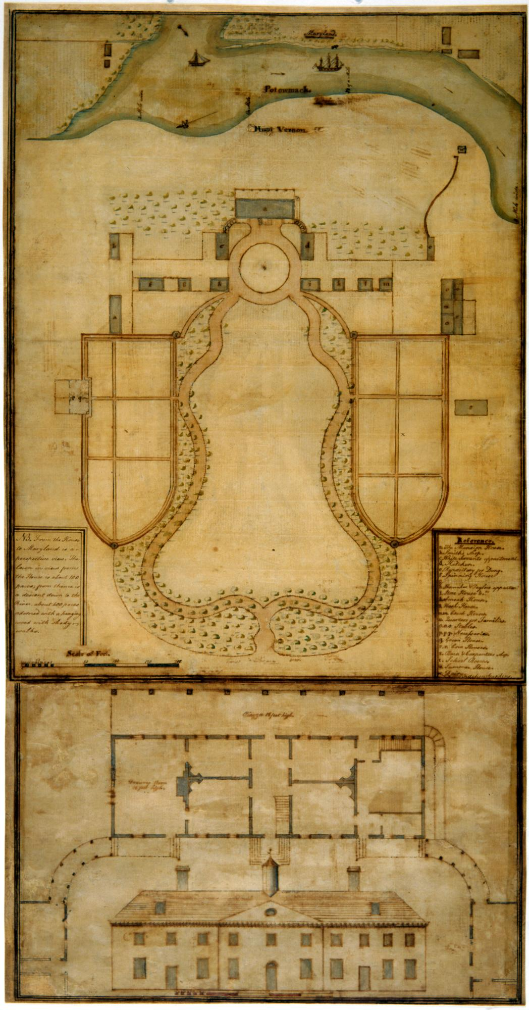 Samuel Vaughan, Plan of Mount Vernon, 1787, ink and watercolor, W-1434, MVLA.