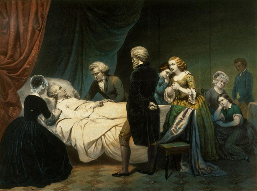 An artist's depiction of George Washington's final moments. - Life of George Washington: The Christian, lithograph by Claude Regnier, after Junius Brutus Stearns,1853. Gift of Mr. and Mrs. Robert B. Gibby, 1984 [WB-55/A1], Washington Library, Mount Vernon, VA.