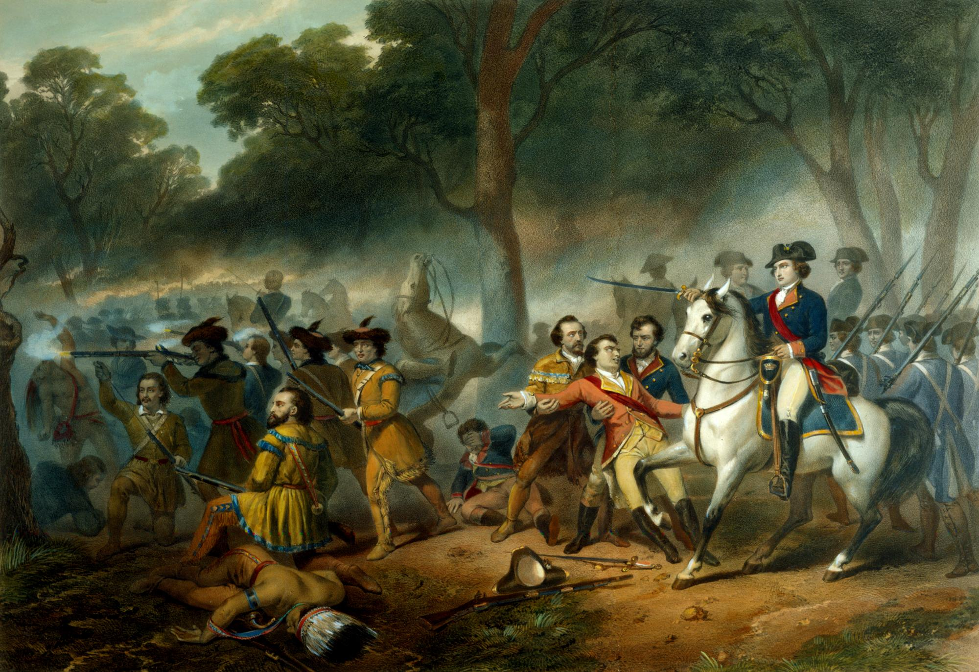 George Washington rallying the broken forces at the Battle of Monongahela on July 9, 1755. [Washington the Solider], c.1834, Library of Congress.