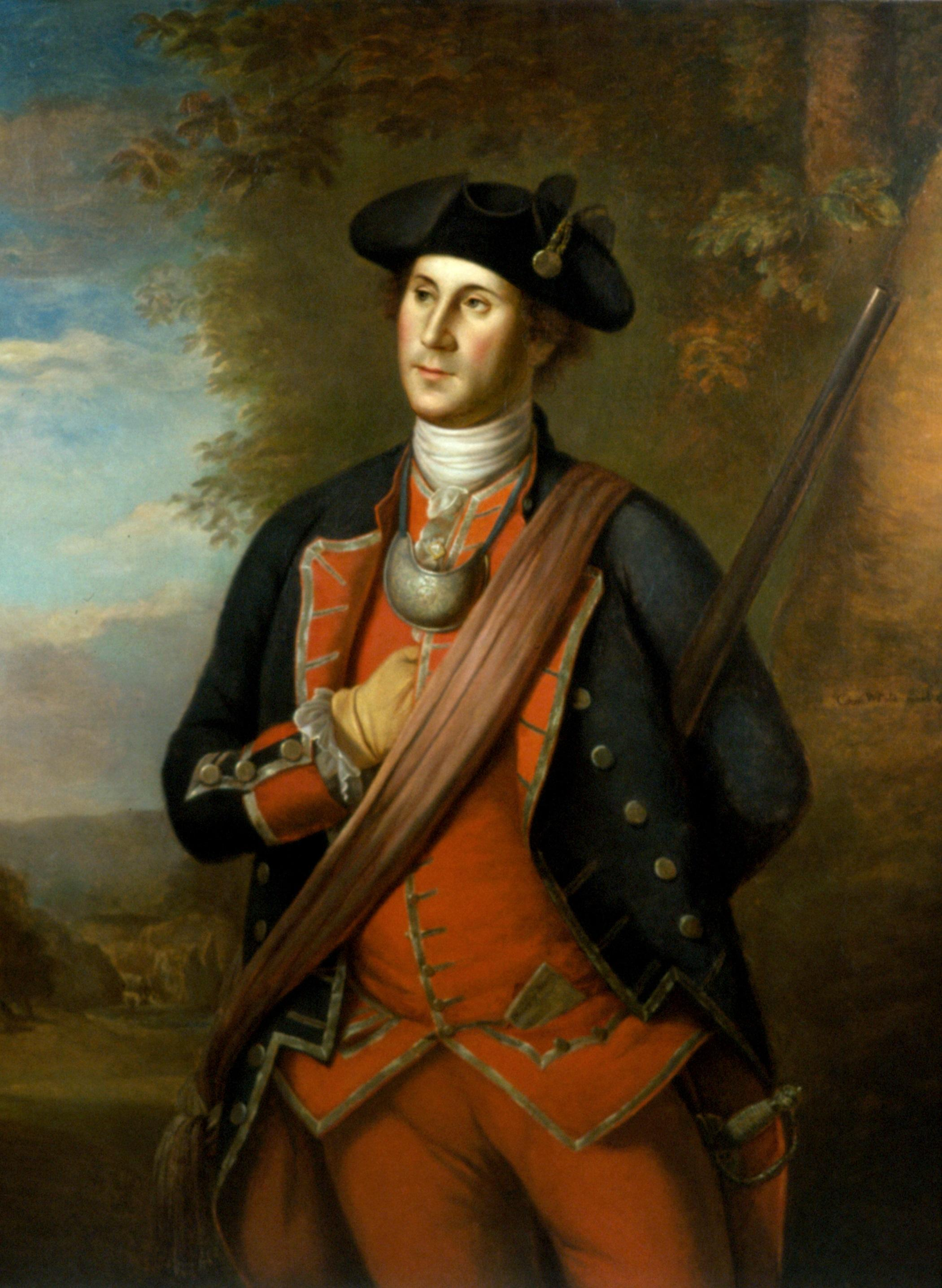 George Washington during the French and Indian War, as painted by Charles Willson Peale in 1772.