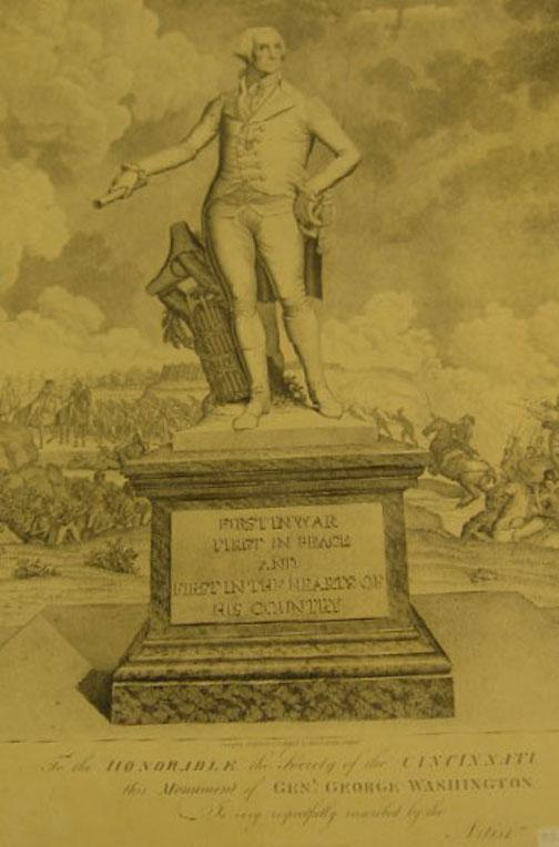 To the Honorable the Society of the Cincinnati/ this monument of General George Washington/ Is very respectfully inscribed by the/Artist, John Eckstein, Philadelphia, 1806.
