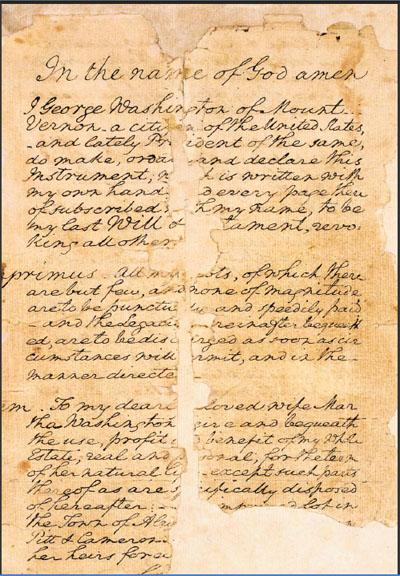 A Portion of George Washington's Last Will and Testament. Courtesy of Fairfax County Circuit Court.