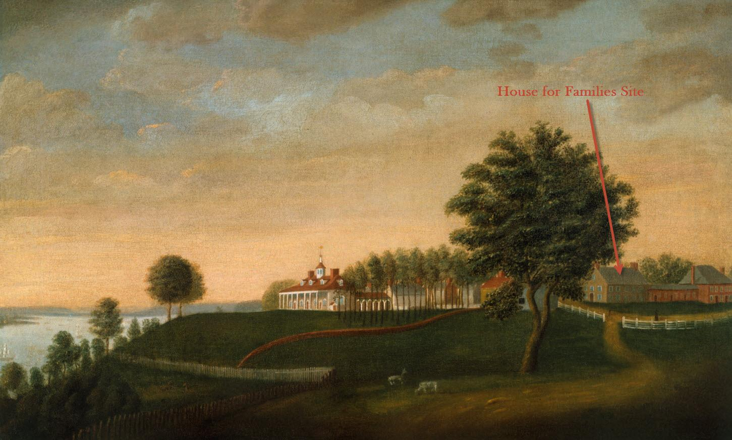 View of the House for Families building as shown in Edward Savage's East Front of Mount Vernon painting (Mount Vernon Ladies' Association)