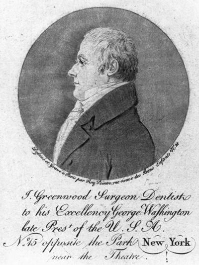 "An engraving of John Greenwood's portrait appeared in the ""American Journal of Dental Science"" in 1839. Library of Congress, Washington, D.C. LC-USZ62-56114"