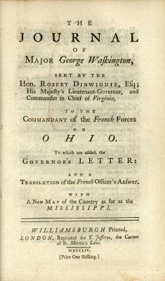Title page of Washington's journal, published in 1754.