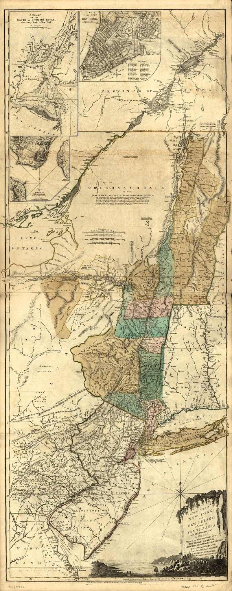 The provinces of New York and New Jersey; with part of Pensilvania, and the Province of Quebec, by Thomas Pownall, ca. 1776. [G3800 1776 .P6]. Courtesy Library of Congress, Washington, D.C.