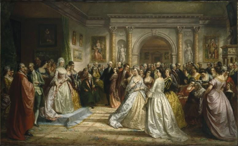Daniel Huntington, Lady Washington's Reception (Republican Court), 1861. A regal Martha Washington stands on a platform to greet her fashionable guests. The artist idealized the social rituals of a seemingly harmonious ruling elite on the eve of the Civil War, but in the 1790s many Americans deemed them anti-republican. (Brooklyn Museum of Art).