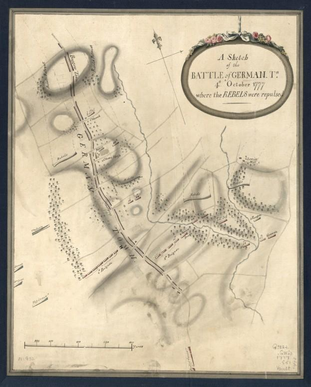 This 1777 map depicts the Battle of Germantown. By John Montrésor, Library of Congress call number G3824.P5:2G4S3 1777 .S5