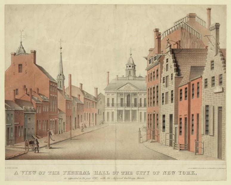 Federal Hall in New York City, as it appeared in 1797 (when the capitol of the United States). Library of Congress control number 91481734.