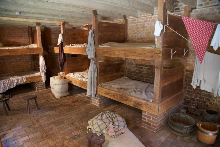 Men's bunkroom within the Greenhouse Slave Quarters at Mount Vernon