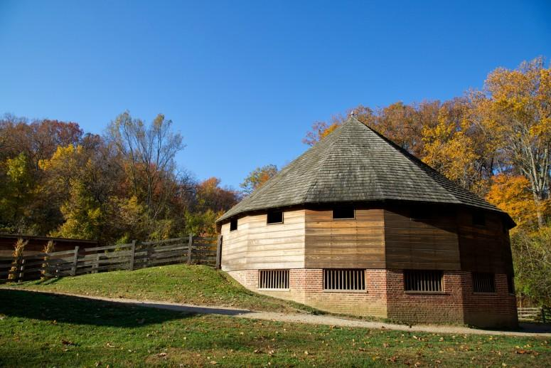 The recreated 16-Sided Barn at Mount Vernon