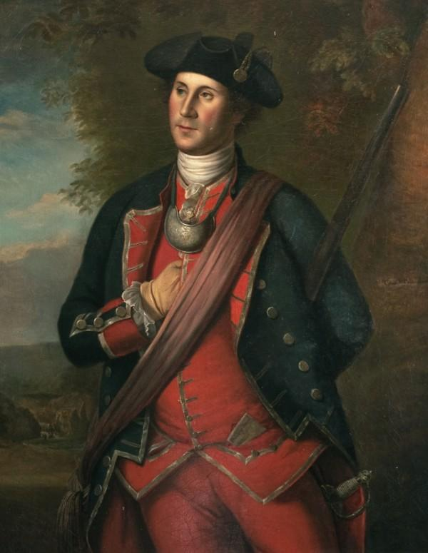 George Washington in his Virginia Regiment uniform. - Painting showing George Washington during his French & Indian War days. by Charles Volkmar, 1874, after Charles Willson Peale (Mount Vernon Ladies' Association)