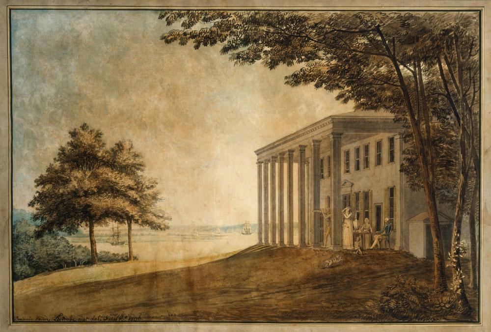"""Latrobe's """"A View of Mount Vernon with the Washington Family"""". MVLA"""