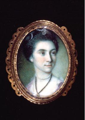 Portrait miniature of Martha Parke Custis by Charles Willson Peale, 1772.