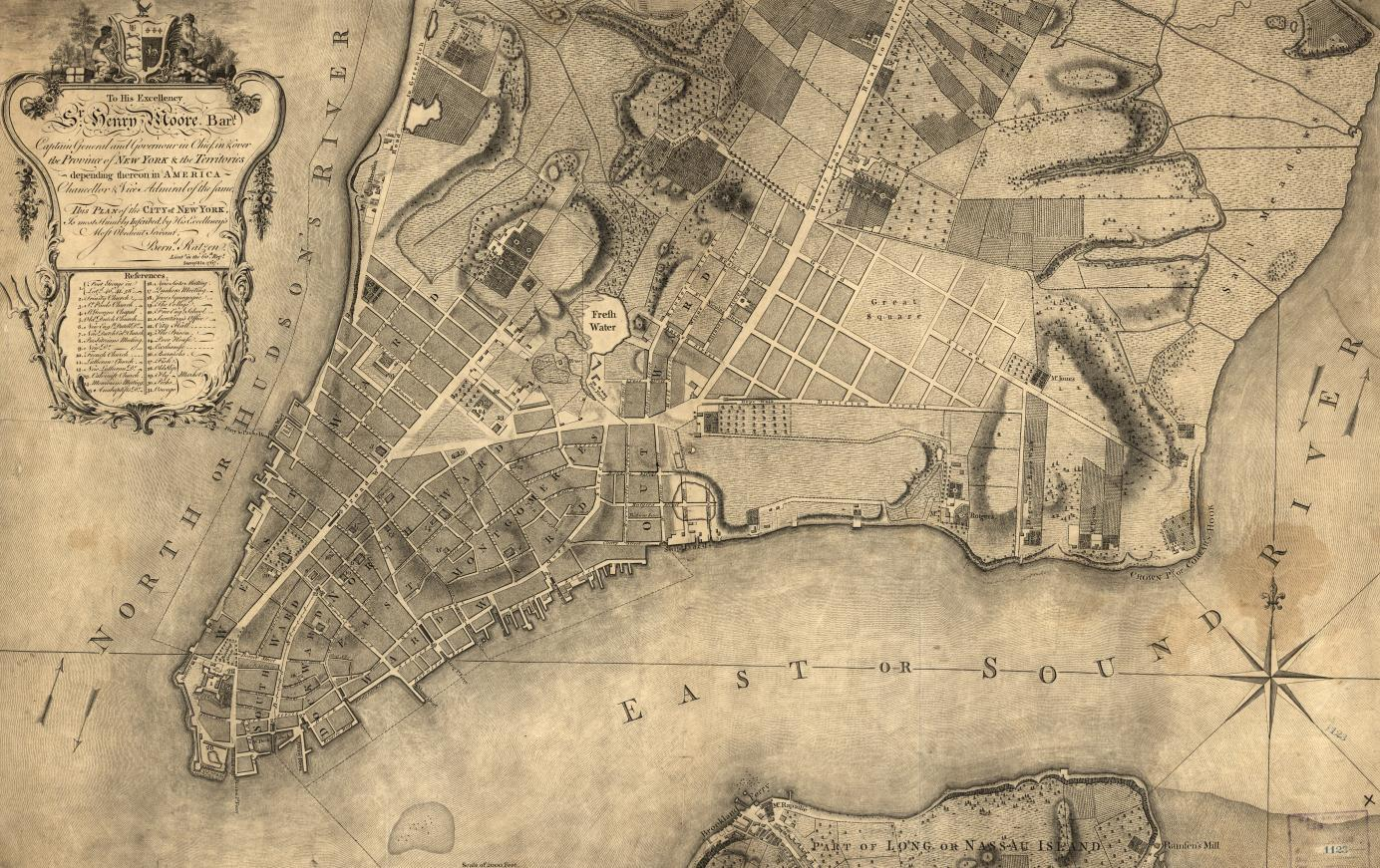 A Map of Revolutionary-era New York City – site where the Culper Spy Ring operated during the American Revolution. (Library of Congress)