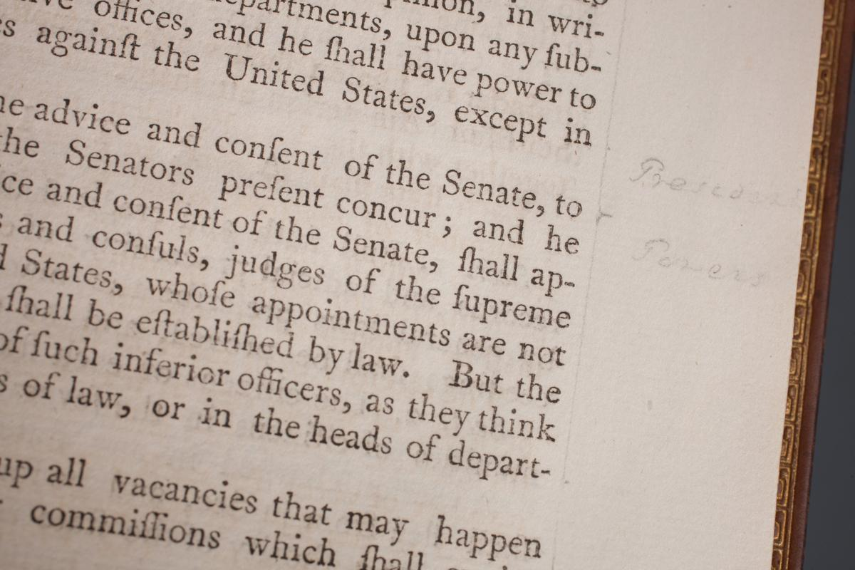 "Detail of Washington's ""Acts of Congress."" He inscribed ""President Powers"" next to Article II, Section II of the Constitution. MVLA."