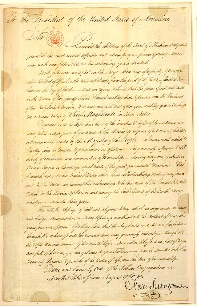 Seixas' letter to Washington from August 17, 1790 (Image via Library of Congress)