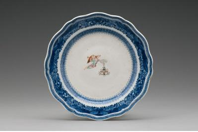 A plate in the Mount Vernon collection, owned by Washington and depicting the insignia of the Society of the Cincinnati. Object number W-2559