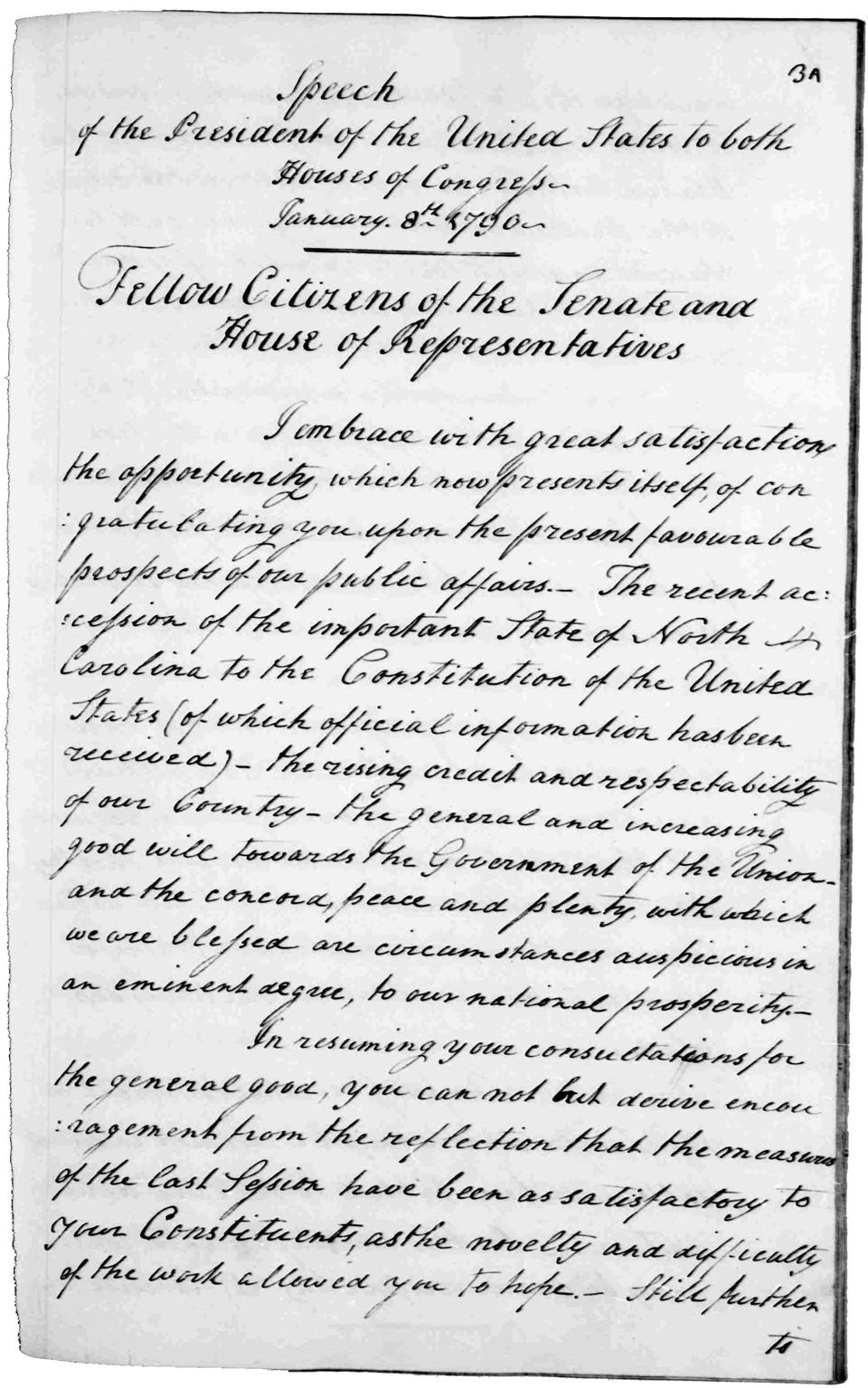 Washington's first State of the Union address