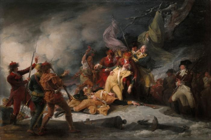 The Death of General Montgomery in the Attack on Quebec, December 31, 1775, by John Trumbull, ca. 1786. [1832.2]. Courtesy Yale University Art Gallery.