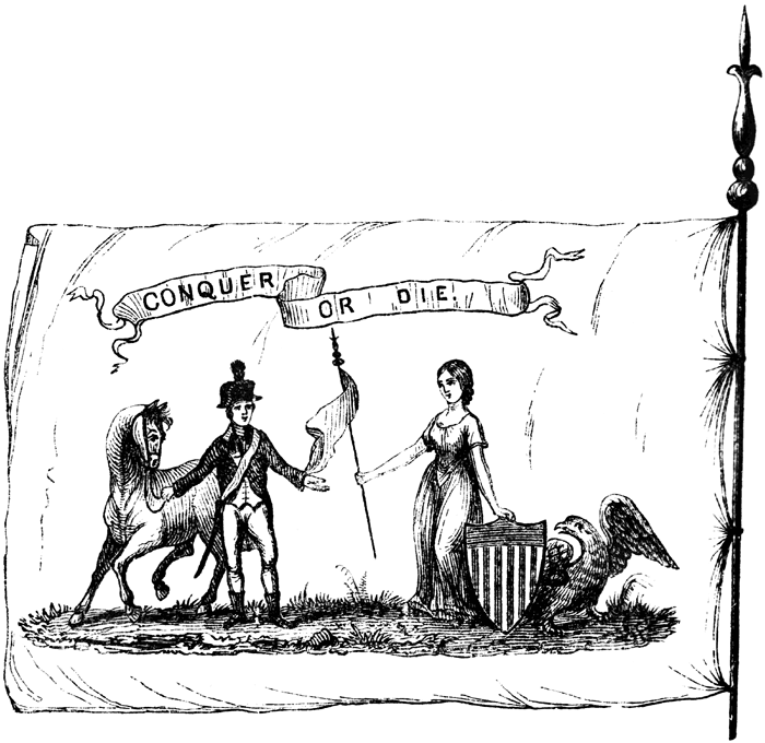 Illustration of the banner of the Commander-in-Chief's Guard. Image from Benson J. Lossing, The Pictorial Field-Book of the Revolution, Vol. 2. (New York: Harper, 1852), 120.