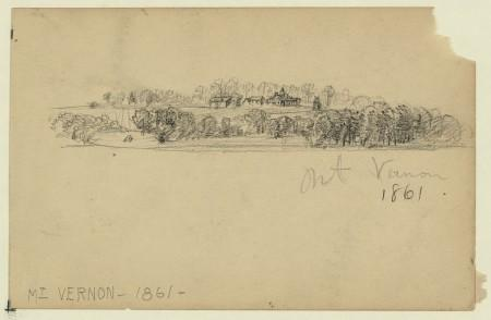 Mt Vernon, 1861 by Alfred Waud, Library of Congress.