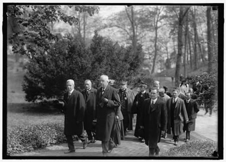Allied Commission to U.S. at Mount Vernon including Jean Raphael Adrien René Viviana Prime Minister of France, French General Joseph Jacques Césaire Joffre, Arthur Balfour British Foreign Secretary, and Robert Lansing United States Secretary of State, Harris & Ewing, 1917, Library of Congress.