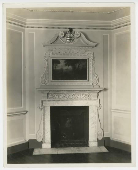 1937 image of the chimneypiece in the Front Parlor. MVLA.