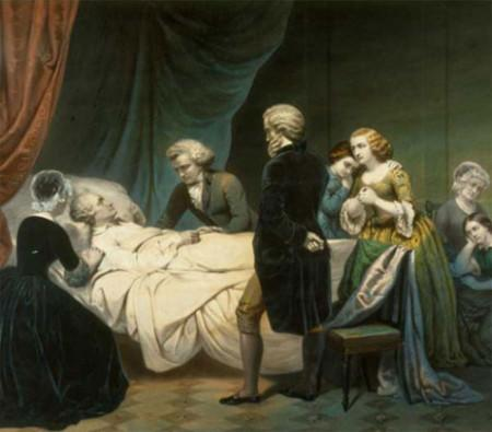 An artist's depiction of George Washington's final moments. - Life of George Washington: The Christian, lithograph by Claude Regnier, after Junius Brutus Stearns,1853, WB-55/A1, MVLA.