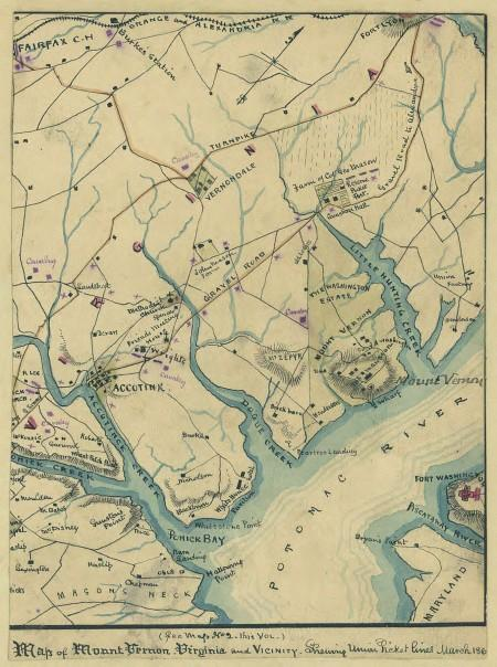 Map of Mount Vernon, Virginia and vicinity showing Union picket lines, March 1861. Robert Knox Sneden, Library of Congress.