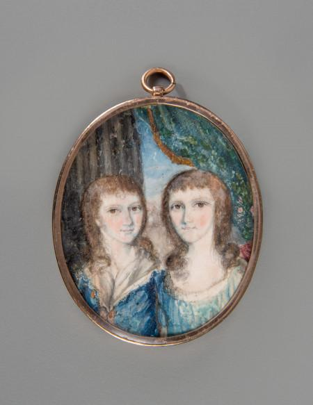 Miniature depicting two children believed to be George Washington Parke Custis and Eleanor Parke Custis, c. 1789, W-487/A-B, MVLA.