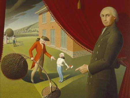 Parson Weem's cherry tree fable, as depicted by Grant Wood (Amon Carter Museum of American Art)