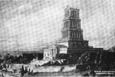 This 1922 photograph Corbett's model of the George Washington Masonic National Memorial shows clear differences in the design of the tower and landscaping from the final building (Wikimedia)