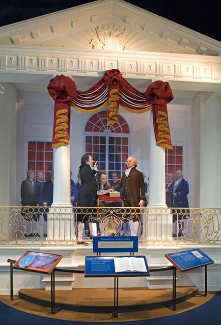 Depiction of Washington's first inauguration at Federal Hall is on display at the Donald W. Reynolds Museum and Education Center (MVLA)