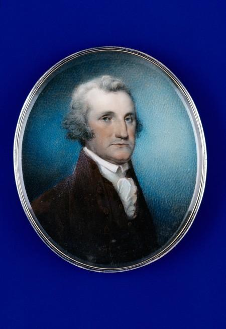 Miniature portrait of George Washington, Archibald Robertson, Philadelphia, Pennsylvania, 1791-1792, watercolor on ivory in silver case with glass crystal, accession #1956-44,1. The Colonial Williamsburg Foundation. Acquisition funded by an anonymous donor.