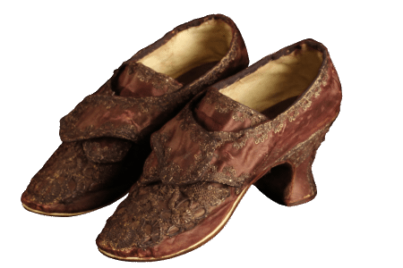 Martha Custis Washington's wedding shoes, worn on her marriage to George Washington on January 6, 1759. Silk, linen, leather, metallic lace and sequins, and wood. The Mount Vernon Ladies' Association.
