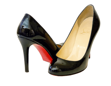 """Simple 100"" patent leather pumps by Christian Louboutin."