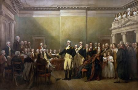 Washington surrendering his military commission to Congress (United States Senate)