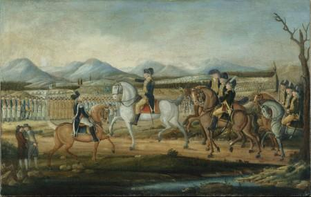 Washington reviewing troops sent to put down the Whiskey Rebellion in Western Pennsylvania (Metropolitan Museum of Art)
