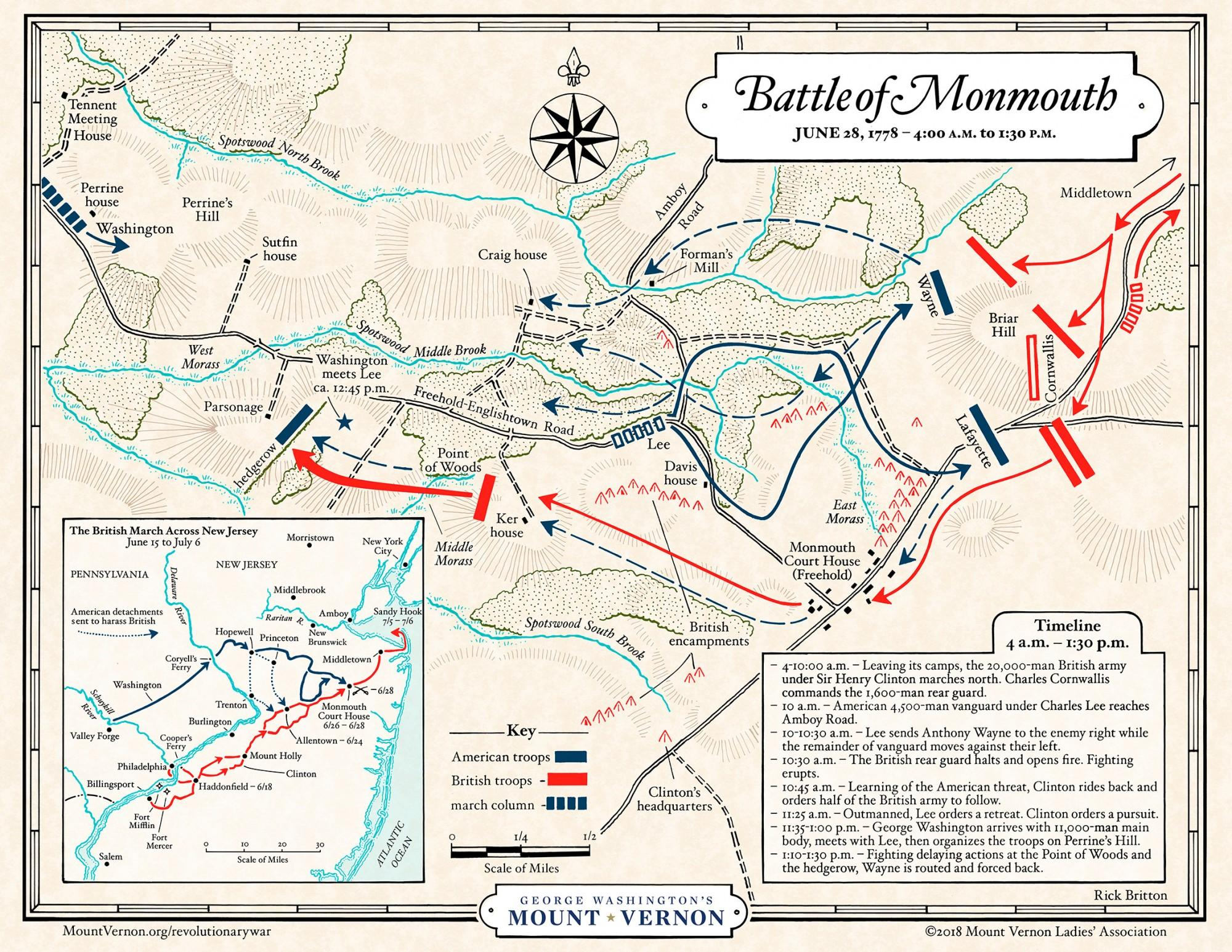 Map: Battle of Monmouth - Morning