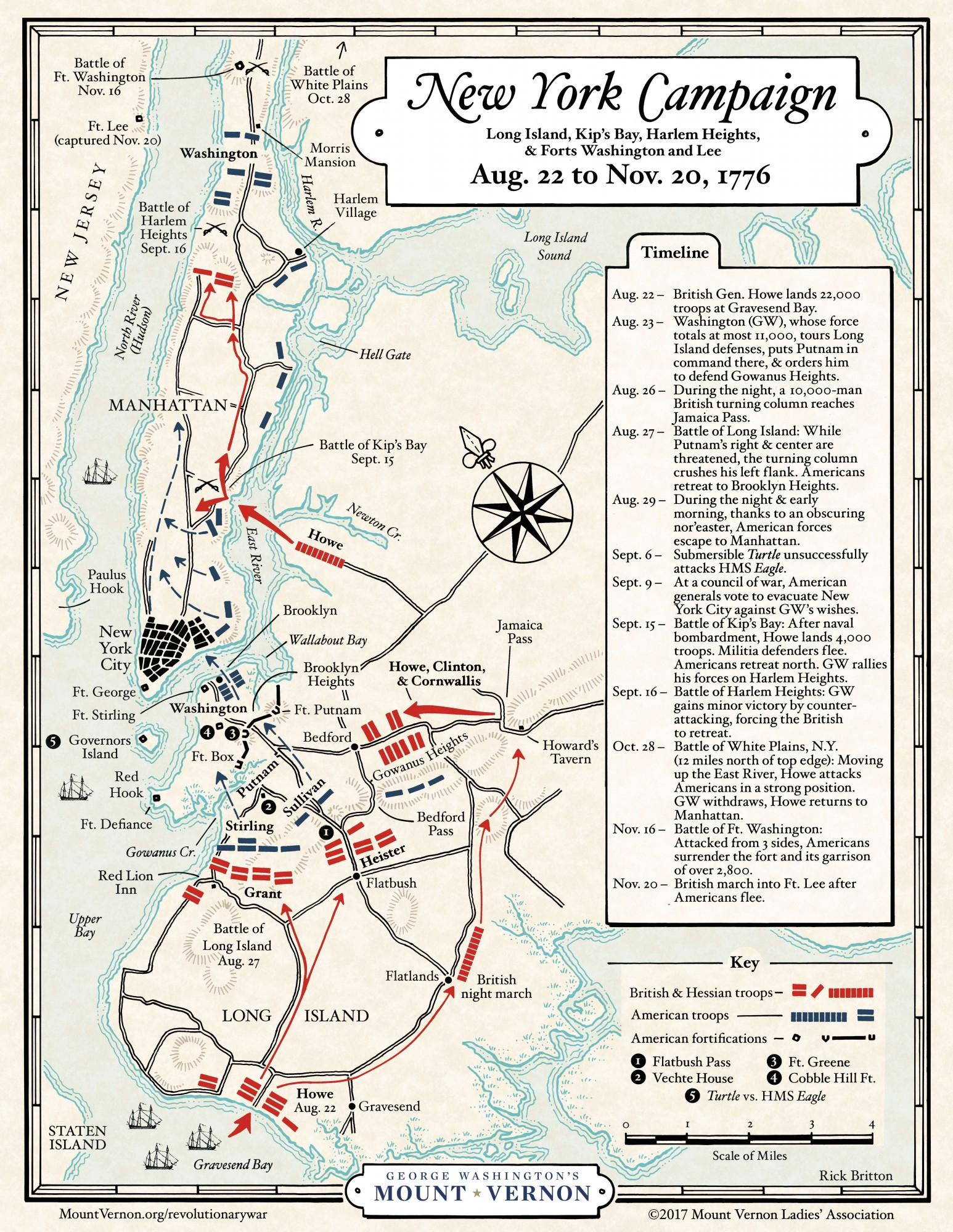 Map: The 1776 New York Campaign