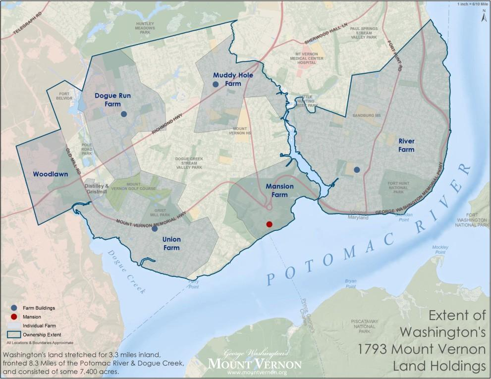 Map: Extent of Washington's 1793 Mount Vernon Land Holdings