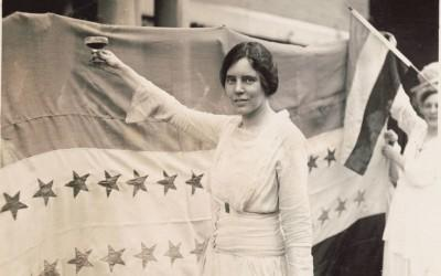 Alice Paul, founder of the National Woman's Party, celebrating the ratification of the 19th Amendment, 1920.