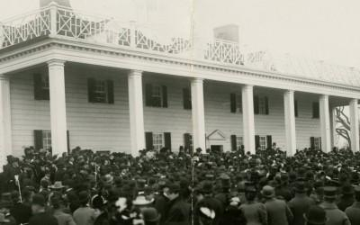 President William McKinley addresses visitors on the east lawn commemorating the centennial of George Washington's death. (MVLA).