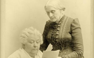 Early suffrage leaders Elizabeth Cady Stanton (seated) and Susan B. Anthony, ca. 1880. In 1848, Stanton hosted the first women's rights convention in…