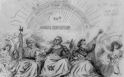 "This political cartoon reworks ""The Apotheosis of Washington"" fresco in the U.S. Capitol rotunda to mock suffrage leaders Elizabeth Cady Stanton and…"